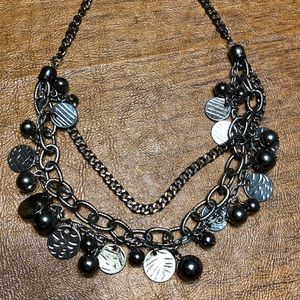 Tri-chain Gunmetal Necklace